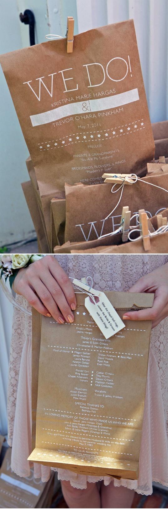 Wedding Programs with Rice